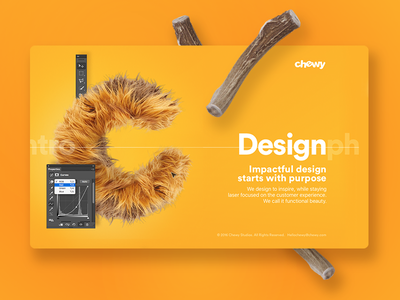 Chewy Studio cute landing web layout design website orange yellow fur chewy ux ui