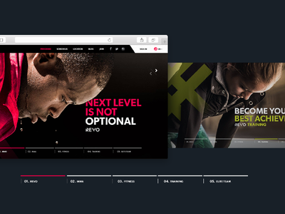 Revo Website visual desktop user interface gym sport red layout design uiux website