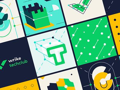 Wrike TechClub Graphics vector minimal green design brand wriketeam wrikedesignteam wrikedesign wrike branding