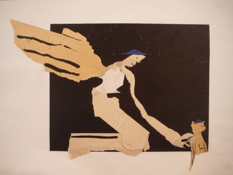 Gargoyle Academy illustration cut paper collage