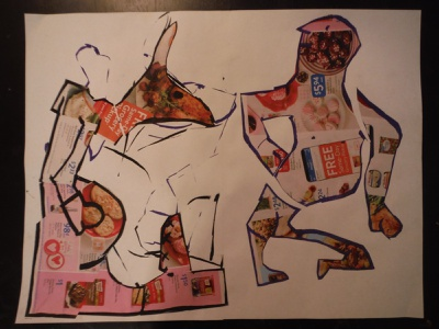 Untitled Boxing Match ink drawing illustration cut paper collage