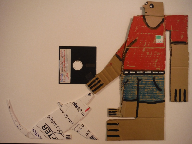 Fetcha Floppy mixed media paint drawing cut paper illustration collage