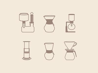 My Favorite Coffee Brew Methods neldrip pourover drip v60 dragon aeropress brew siphon chemex coffee icons