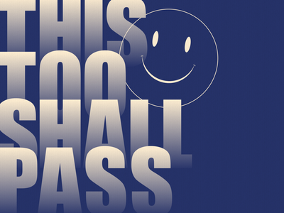 This too shall pass smiley doodle vector design typography editorial type