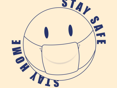 #stayhome doodle quick type clean covid-19 smiley character design vector illustration