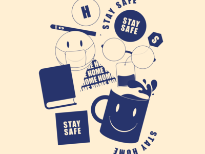 #stayhome smiley doodle clean character type vector illustration