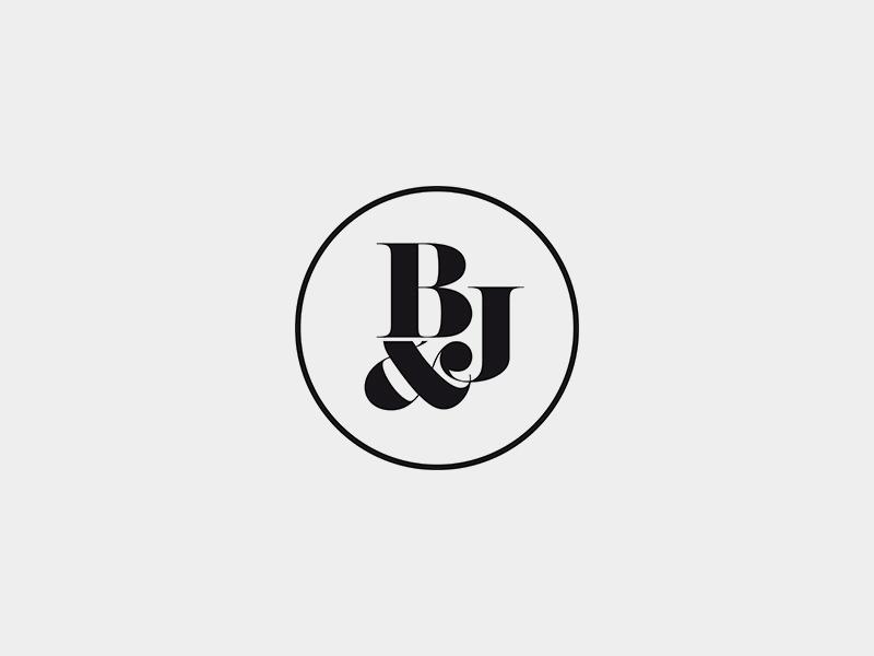 B&J typography type serif circle wedding logo