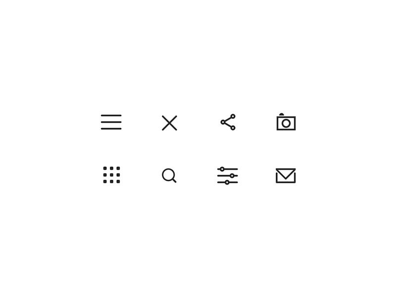 Icons envelope camera menu traveler icon