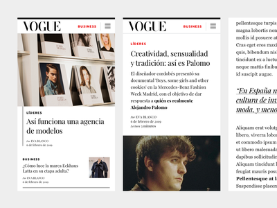 Vogue Business Spain vogue ux ui type layout fashion editorial design business