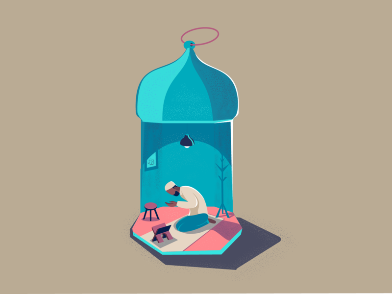 Eid - Mubarak! eidmubarak prayer quarantine illustrator