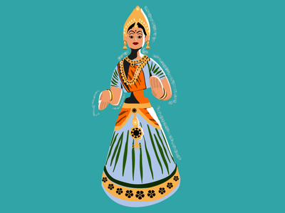 Thanjavur Bobblehead Dolls illustration vector inkscape