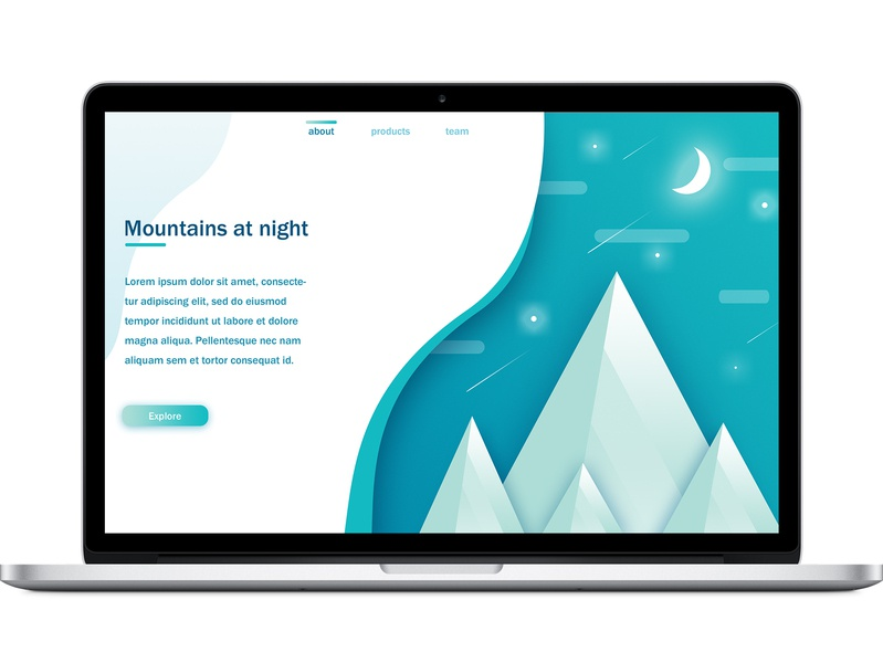 The Mountains at Night photoshop cc ui design web design ui graphic design photoshop graphic art design