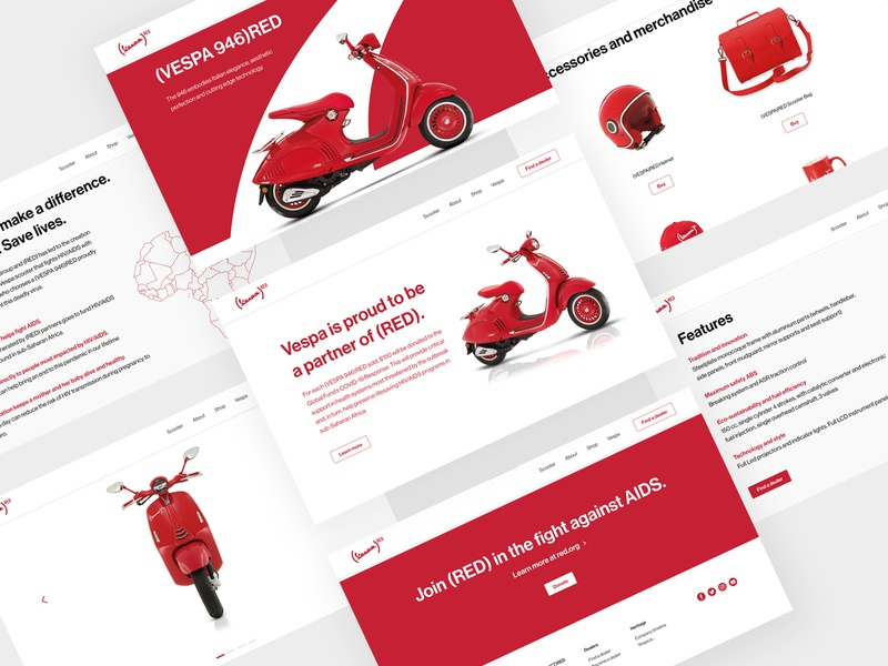Vespa Landing Page red scooter vespa figma minimal ecommerce typography website concept landing page ux ui website web design