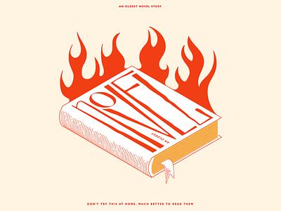 novel book lettermark lettering linework line art fire books art design typography vector illustration