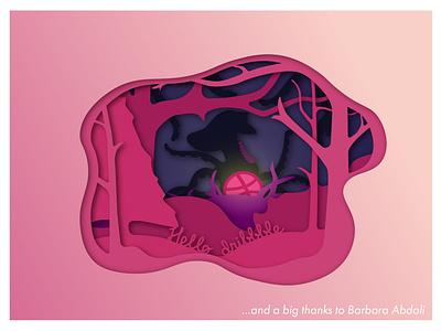 Hello Dribbbbble! scaryoctopus papercut vector illustration