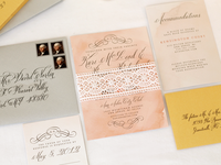 Peach, gold and silver wedding invitation