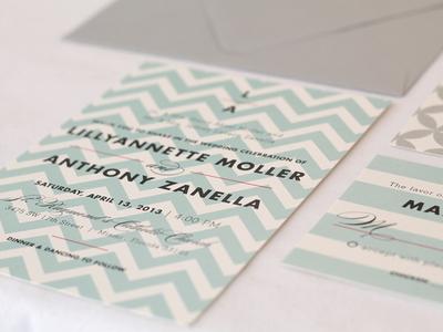 Teal chevron wedding invitations