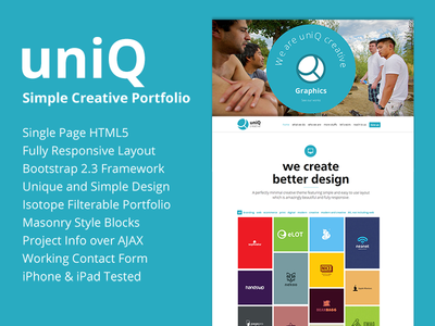 UniQ - Creative Portfolio Theme agency bootstrap creative designova easy to use html5 interactive masonry minimal one page parallax personal portfolio responsive seo