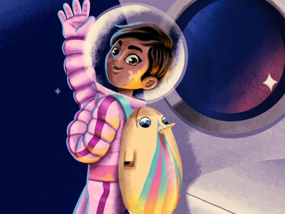Space unicorn space color palette lighting girl characterdesign photoshop illustration digital 2d