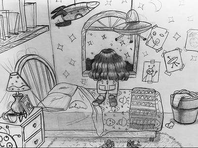 Sketch bedroom aliens girl characterdesign concept art illustration sketch