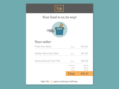 Food App Email Receipt