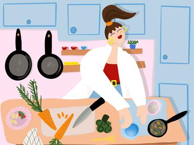 In the kitchen illustration