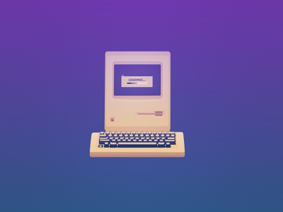 DD8R2 - Time old computer old apple imac loading time ui midnight illustration minimal affinity flat  design vector cool flat design