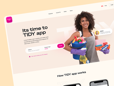 Tidy Landing Page - Website Design product design figmadesign websites beautiful pink tidy cleaning services photography clean minimalism home screen landing page ui landing page design website design beauty ui design
