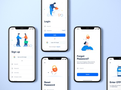 Login and Signup Screens figma design download mockup login design simple design simple illustration registration form login form login screen ios login clean design registration page mobile login modern clean illustrations otp reset password forgot password signup login