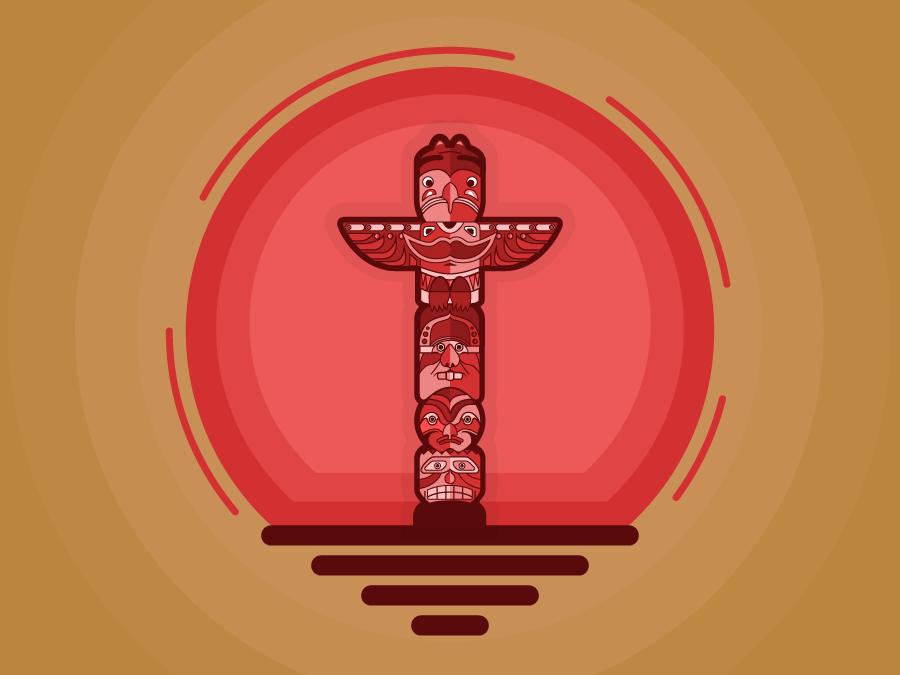 Totem Pole1 illustration pole totem faces sun popular goofy red totem pole