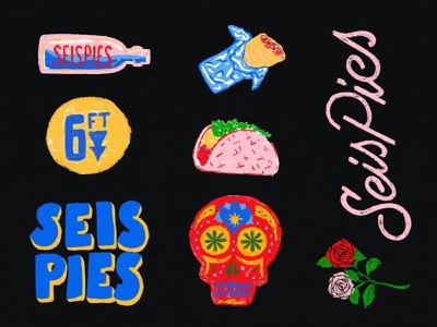 6 Footer charleston freelance script flowers roses folk art mexico day of the dead candy skull hand drawn lettering pop up taco burrito tex mex illustration branding