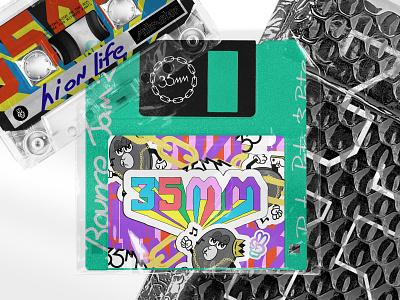35mm custom type lettering cartoon character album art album music branding 35mm gold chains record illustration room electronic dance music rave branding