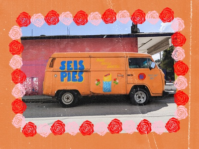 Seis Pies roses branding logo design sign painter hand painted lettering tex mex boston 6ft seis pies burritos