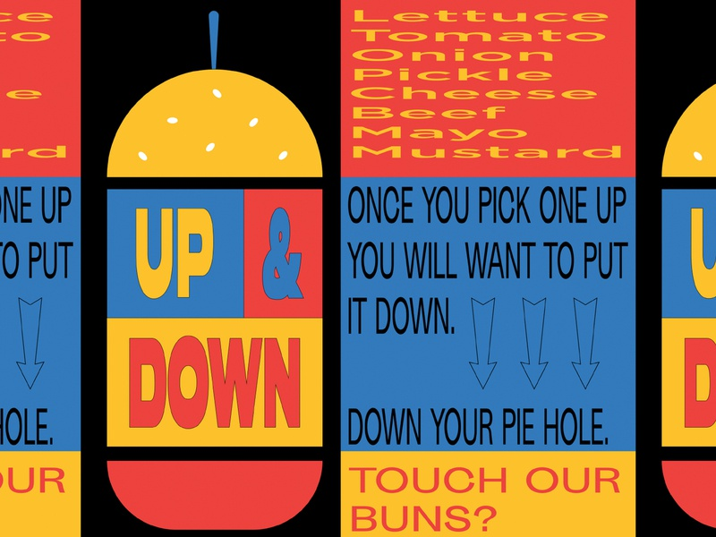 up n down 2 irreverent warped type illustration no side bends or situps buns huns 1990s branding fast casual cheese burger burger