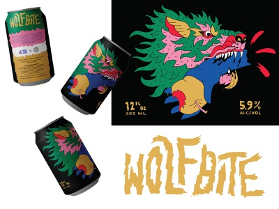 Wolfbite packaging can illustration branding lettering hand drawn wolf