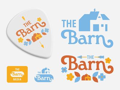 Barn Media music industry retro 70s funky cherry blossom dogwood barn design logo branding and identity illustration lettering branding