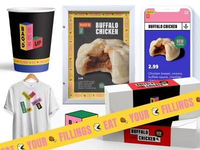 Bao Dat illustration packaging webdesign brand branding restaurant buffalo chicken is so dank american texas fast food identity system mascot logo baozer pixel art 8 bit japanese chinese