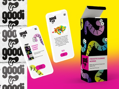 Goodi 1.0 custom logotype cartoon tongue mouth gradients illustration gummy worms edibles pot cannabis logo ux ui packaging branding