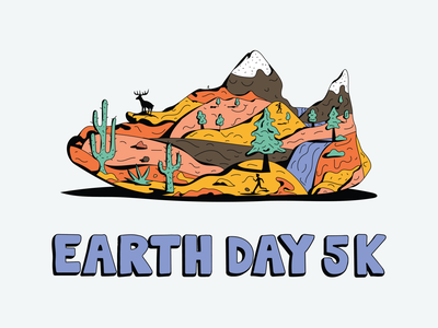 Earth Day 5k get outside cactus organic lettering hand drawn running rivers forest desert mountains 5k