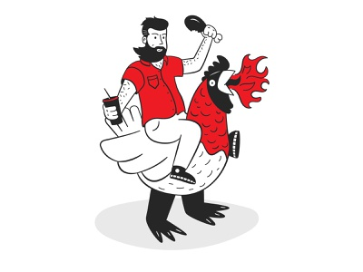 FireBird simple modern vector flat fire birds fried chicken rooster fast food man riding chicken giant chicken visual design branding line art black ink illustration