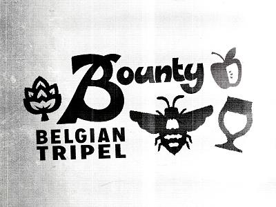 Bountiful beer branding illustration honey bee label design apples hopps thiccc vintage funky type design lettering