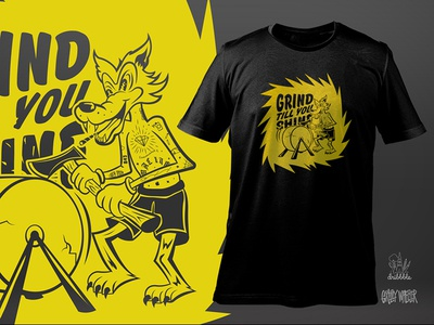 Always Be Grinding sc screen print cartoon tattoo vintage sparks punk axe wolf illustration charleston grizzly wheeler