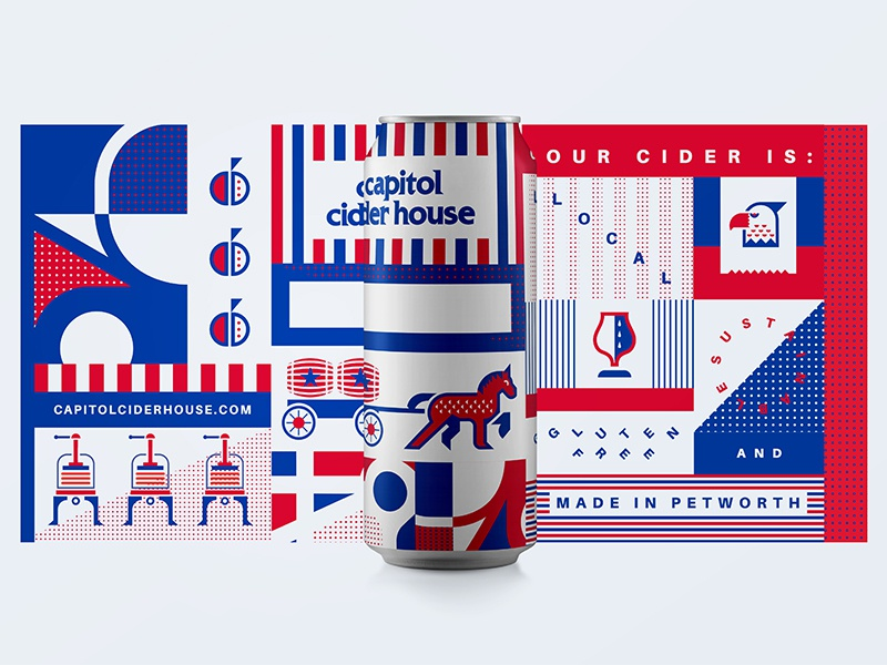 Universal Can #2 simple shapes press horse apple dc cidery brewery brewing can packing flat geometric illustration cider branding
