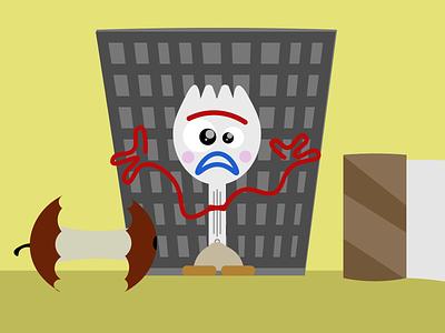 Forky basura concept design illustration design toy story pixar