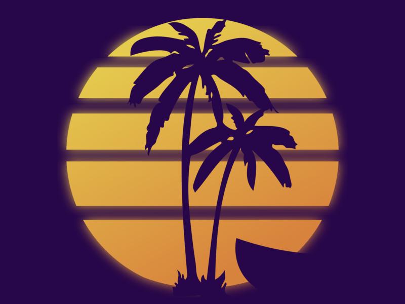 Beach sunset palms beach flatdesign concept design design illustration