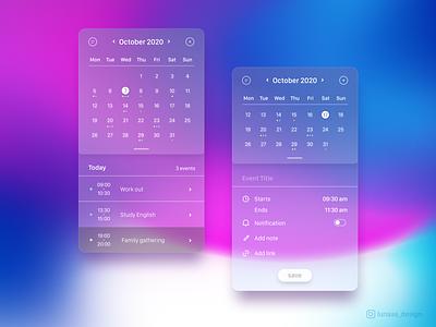 Calendar APP transparent app web ios calculator ui calendar uxdesign graphicdesign uidesign transparent clear uxui ux ui interface inspiration figma daily ui app design app
