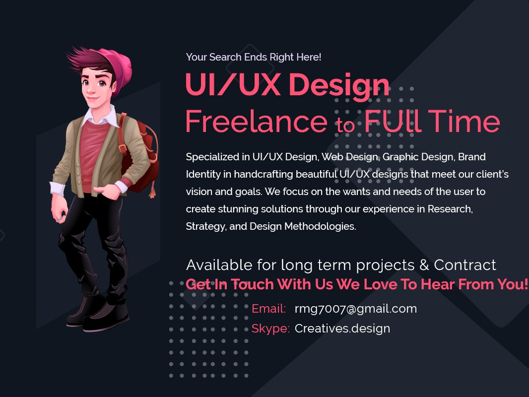 Freelance UI/UX Design project management team lead client communication digital marketing materials prototyping wireframing user research sketch uxpin invision balsamiq adobe xd adobe indesign adobe illustrator adobe photoshop cc