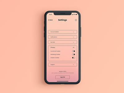 Daily UI 007 - Settings peach gradient settings ui app design ui dailyuichallenge dailyui