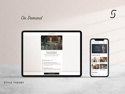 Style Theory On Demand home screen faq fashion app mobile mobile app ui design indonesia web design ux ui