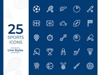 Sports Icons Set, Outline Style